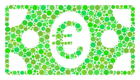 Euro Banknote collage of dots in different sizes and fresh green color tones. Vector filled circles are combined into euro banknote collage. Ecological vector illustration.