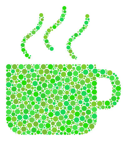 Coffee Cup collage of dots in variable sizes and eco green color tones. Vector filled circles are composed into coffee cup illustration. Eco design concept.