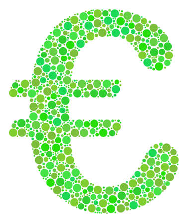 Euro Symbol composition of circle elements in different sizes and ecological green color hues. Vector dots are united into euro symbol composition. Ecological vector illustration.