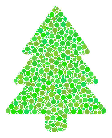 Fir-Tree mosaic of filled circles in different sizes and ecological green color tinges. Vector filled circles are combined into fir-tree illustration. Organic design concept.