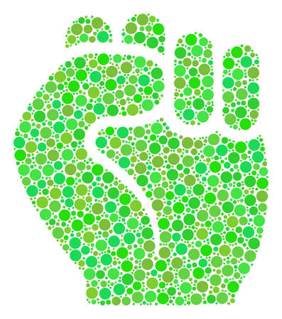 Fist mosaic of dots in various sizes and eco green color hues. Vector filled circles are grouped into fist illustration. Freshness vector illustration.