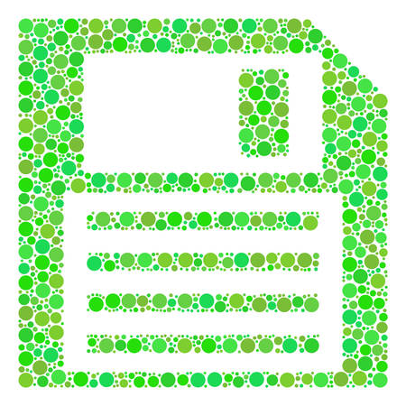 Floppy Disk composition of dots in various sizes and green color tints. Vector filled circles are composed into floppy disk composition. Freshness vector illustration.