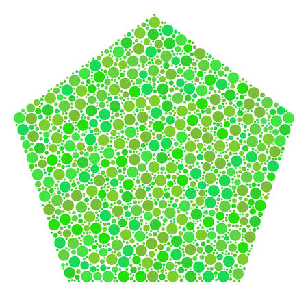 Filled Pentagon composition of circle elements in variable sizes and fresh green color tones. Vector round elements are combined into filled pentagon illustration. Fresh vector illustration.