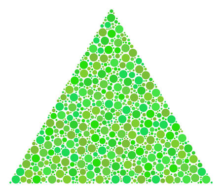 Filled Triangle mosaic of circle elements in variable sizes and eco green color tones. Vector round dots are combined into filled triangle illustration. Organic vector illustration.