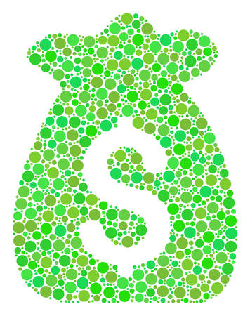 Financial Capital collage of circle elements in variable sizes and eco green color tints. Vector filled circles are organized into financial capital composition. Ecological vector illustration.