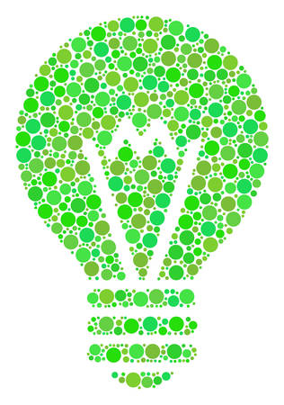 Electric Bulb collage of filled circles in different sizes and fresh green color tinges. Vector circle elements are combined into electric bulb collage. Ecology design concept. Illustration