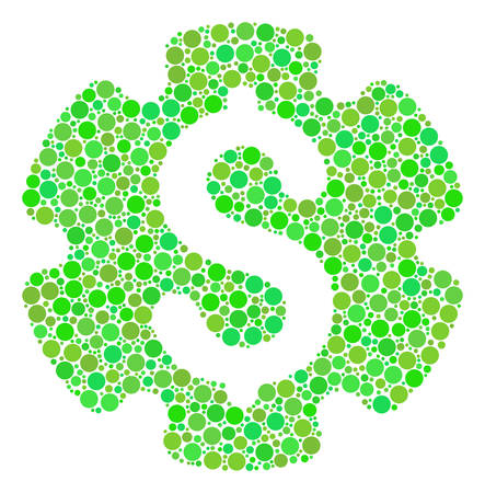 Financial Settings Gear collage of filled circles in different sizes and ecological green color tones. Vector circle elements are organized into financial settings gear collage. Illustration