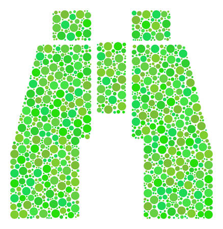 Find Binoculars composition of circle elements in different sizes and fresh green color tinges. Vector round dots are organized into find binoculars collage. Organic design concept.