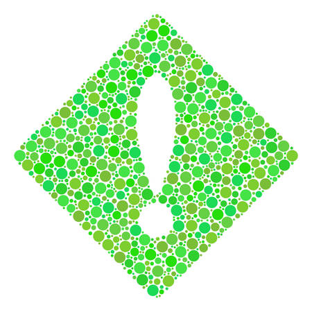 Error mosaic of dots in different sizes and fresh green color hues. Vector filled circles are combined into error illustration. Fresh vector illustration.