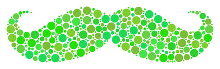 Gentleman Moustache composition of dots in variable sizes and ecological green color hues. Vector dots are composed into gentleman moustache illustration. Freshness design concept.
