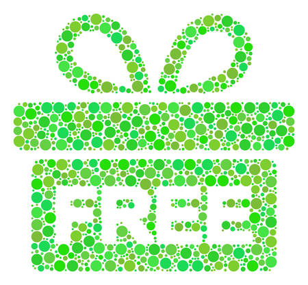 Free Gift mosaic of filled circles in variable sizes and ecological green color tinges. Vector round dots are combined into free gift collage. Eco vector illustration. Illustration