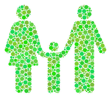 Family Child collage of dots in various sizes and ecological green color tones. Vector round dots are composed into family child illustration. Ecological vector illustration. Ilustração