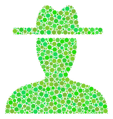 Farmer composition of filled circles in variable sizes and fresh green color tones. Vector round elements are composed into farmer collage. Ecological vector illustration.