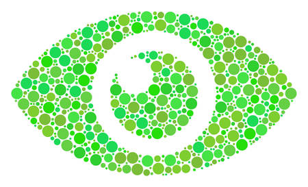 Eye composition of circle elements in different sizes and eco green color tints. Vector filled circles are united into eye illustration. Fresh design concept.