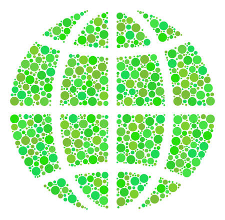 Globe composition of circle elements in various sizes and eco green color tints. Vector round elements are grouped into globe mosaic. Organic vector illustration.