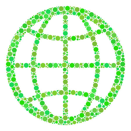 Globe composition of dots in various sizes and green color tones. Vector round dots are grouped into globe collage. Organic design concept.