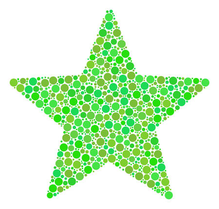 Fireworks Star mosaic of filled circles in different sizes and fresh green color tinges. Vector round dots are combined into fireworks star illustration. Ecological vector illustration.