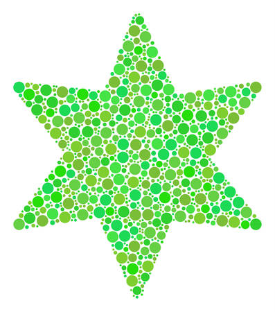 Fireworks Star collage of circle elements in various sizes and green color tinges. Vector filled circles are combined into fireworks star collage. Eco vector illustration. Illustration