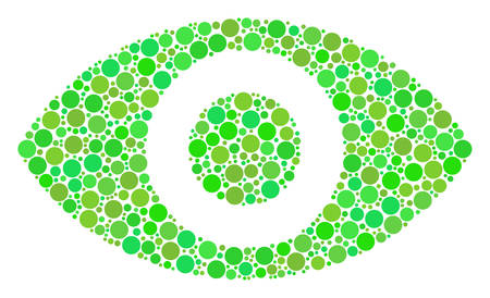 Eye composition of filled circles in different sizes and fresh green color tinges. Vector round elements are composed into eye illustration. Ecological vector illustration.