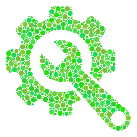 Gear And Wrench collage of filled circles in different sizes and eco green color hues. Vector filled circles are organized into gear and wrench collage. Freshness design concept.