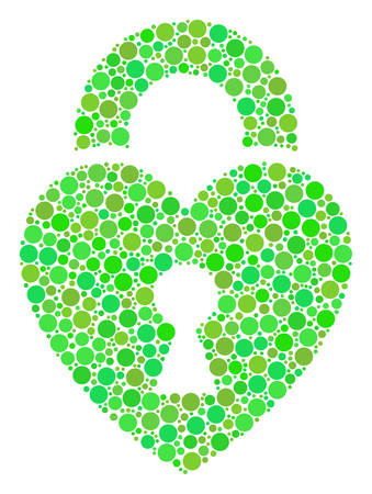 Heart Lock composition of filled circles in different sizes and green color hues. Vector dots are organized into heart lock illustration. Organic vector illustration.
