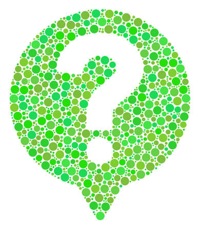 Help Balloon mosaic of circle elements in variable sizes and ecological green shades. Vector dots are composed into help balloon composition. Ecology design concept.