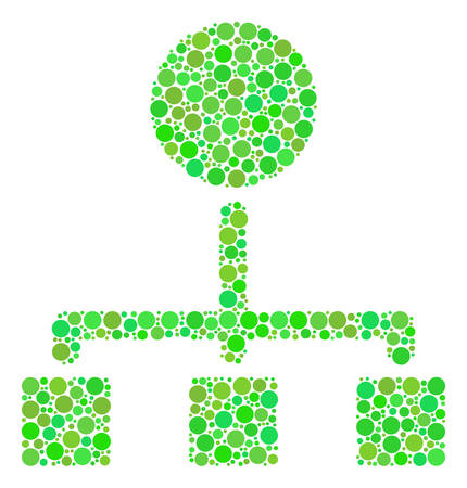 Hierarchy mosaic of dots in different sizes and eco green color hues. Vector circle elements are combined into hierarchy mosaic. Fresh vector illustration.