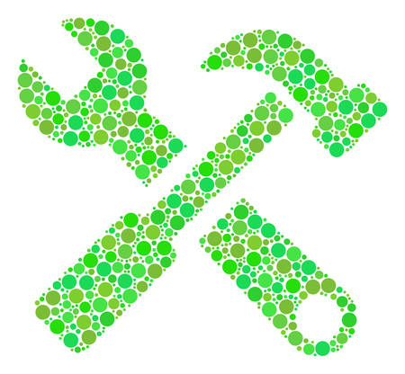 Hammer And Wrench mosaic of filled circles in variable sizes and eco green color tones. Vector dots are united into hammer and wrench collage. Freshness vector illustration. Illustration