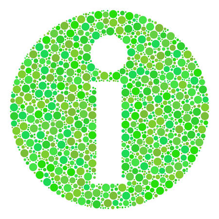 Info composition of filled circles in variable sizes and green color tints. Vector filled circles are organized into info mosaic. Ecological vector illustration.