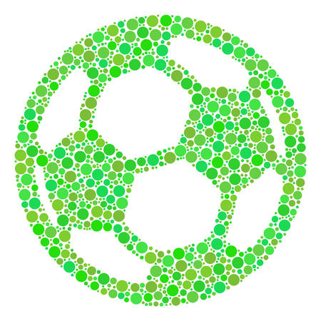 Football Ball collage of dots in variable sizes and green shades. Vector filled circles are grouped into football ball composition. Eco design concept.