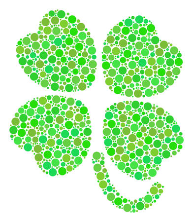 Four-Leafed Clover composition of dots in different sizes and ecological green color tinges. Vector dots are combined into four-leafed clover composition. Ecology design concept. Illustration