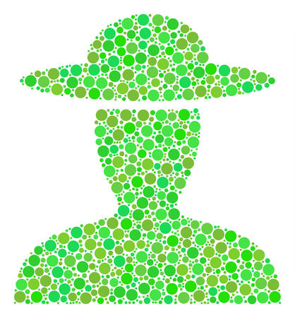 Farmer Person mosaic of dots in various sizes and ecological green color hues. Vector round dots are grouped into farmer person composition. Freshness design concept.