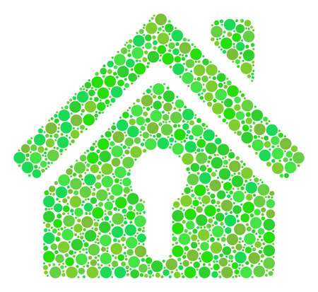 Home Keyhole mosaic of dots in different sizes and ecological green color hues. Vector round dots are combined into home keyhole collage. Ecological vector illustration.
