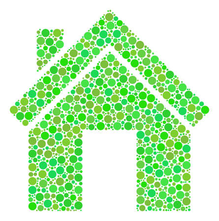 Home composition of dots in variable sizes and fresh green color hues. Vector dots are composed into home mosaic. Ecology vector illustration. 矢量图像