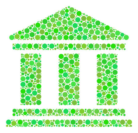 Library Building mosaic of circle elements in different sizes and fresh green color tinges. Vector round elements are combined into library building mosaic. Ecology design concept.