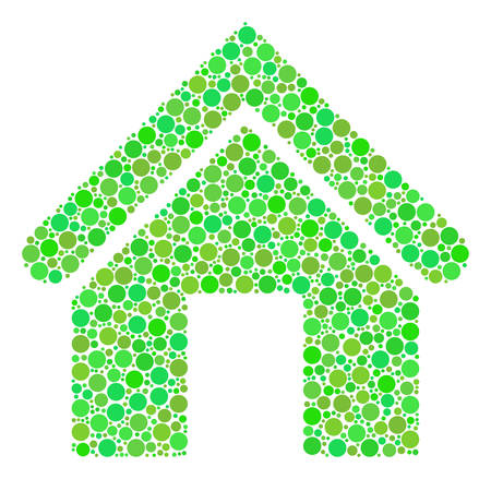 Home collage of filled circles in different sizes and eco green color tints. Vector filled circles are combined into home illustration. Fresh design concept.