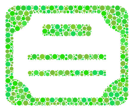 License collage of circle elements in variable sizes and fresh green color hues. Vector circle elements are organized into license mosaic. Freshness vector illustration.