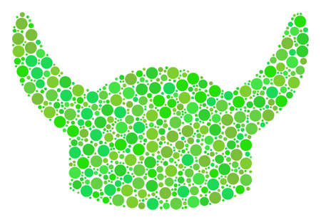 Horned Helmet mosaic of circle elements in variable sizes and ecological green color tones. Vector round dots are united into horned helmet composition. Ecological vector illustration. Illustration