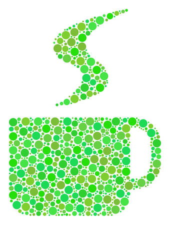Hot Coffee Cup composition of filled circles in variable sizes and eco green shades. Vector round elements are grouped into hot coffee cup collage. Freshness vector illustration.