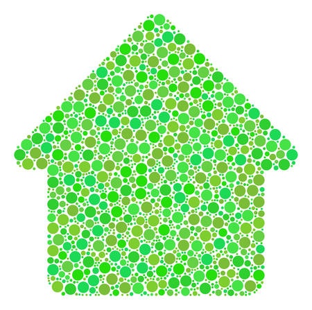 House collage of circle elements in variable sizes and ecological green color tones. Vector filled circles are united into house illustration. Freshness vector illustration. Иллюстрация