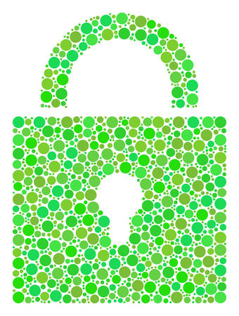 Lock mosaic of dots in variable sizes and green color tints. Vector circle elements are organized into lock composition. Freshness design concept.