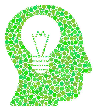 Intellect Bulb mosaic of filled circles in different sizes and green color tints. Vector round elements are composed into intellect bulb mosaic. Ecological design concept.