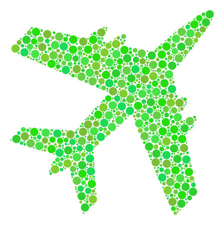 Jet Plane collage of filled circles in various sizes and eco green color hues. Vector circle elements are combined into jet plane mosaic. Eco vector illustration.