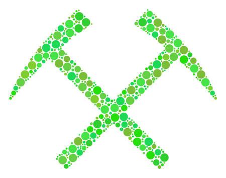 Mining Hammers mosaic of filled circles in variable sizes and ecological green color tints. Vector round elements are organized into mining hammers mosaic. Organic vector illustration.