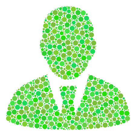 Manager composition of circle elements in different sizes and ecological green color tones. Vector round elements are composed into manager collage. Fresh vector illustration. Ilustrace