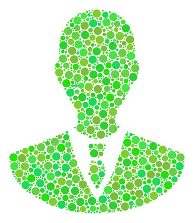 Manager mosaic of dots in different sizes and fresh green color hues. Vector circle elements are composed into manager mosaic. Fresh vector illustration. Illustration