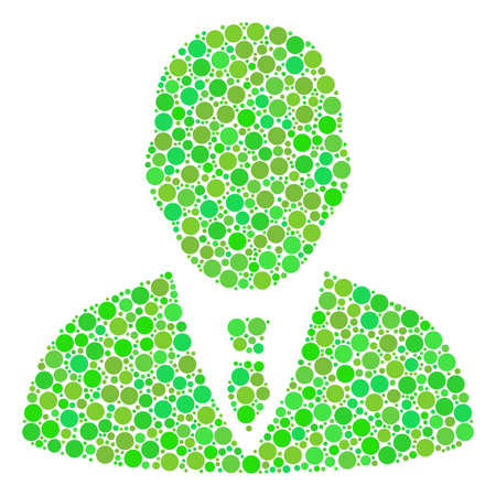 Manager collage of circle elements in different sizes and green color tones. Vector dots are organized into manager mosaic. Fresh vector illustration. Illustration