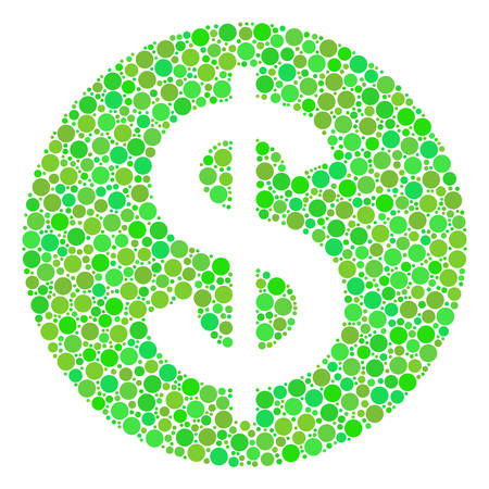 Money composition of dots in variable sizes and fresh green color tones. Vector dots are composed into money composition. Ecological vector illustration.