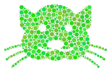 Kitty collage of filled circles in variable sizes and ecological green shades. Vector filled circles are combined into kitty collage. Organic design concept.