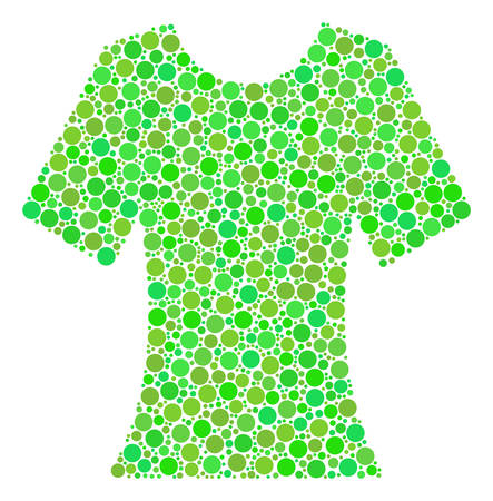 Lady T-Shirt collage of circle elements in different sizes and ecological green shades. Vector filled circles are combined into lady t-shirt collage. Ecology design concept. Illustration